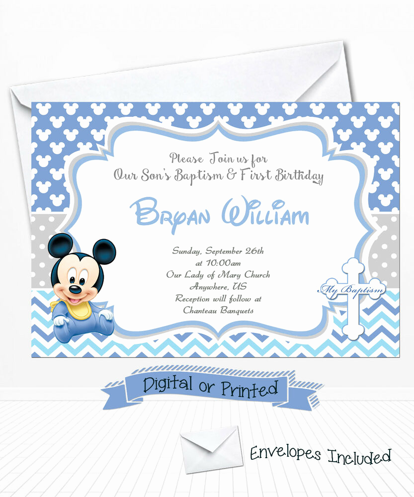Christening and Birthday Invitation Elegant Printed Baby Mickey Birthday Invitations Mickey Baptism