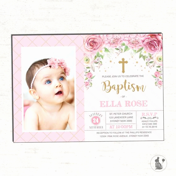 Christening and Birthday Invitation Inspirational Girl Baptism Invitation Pink Gold Christening Printable