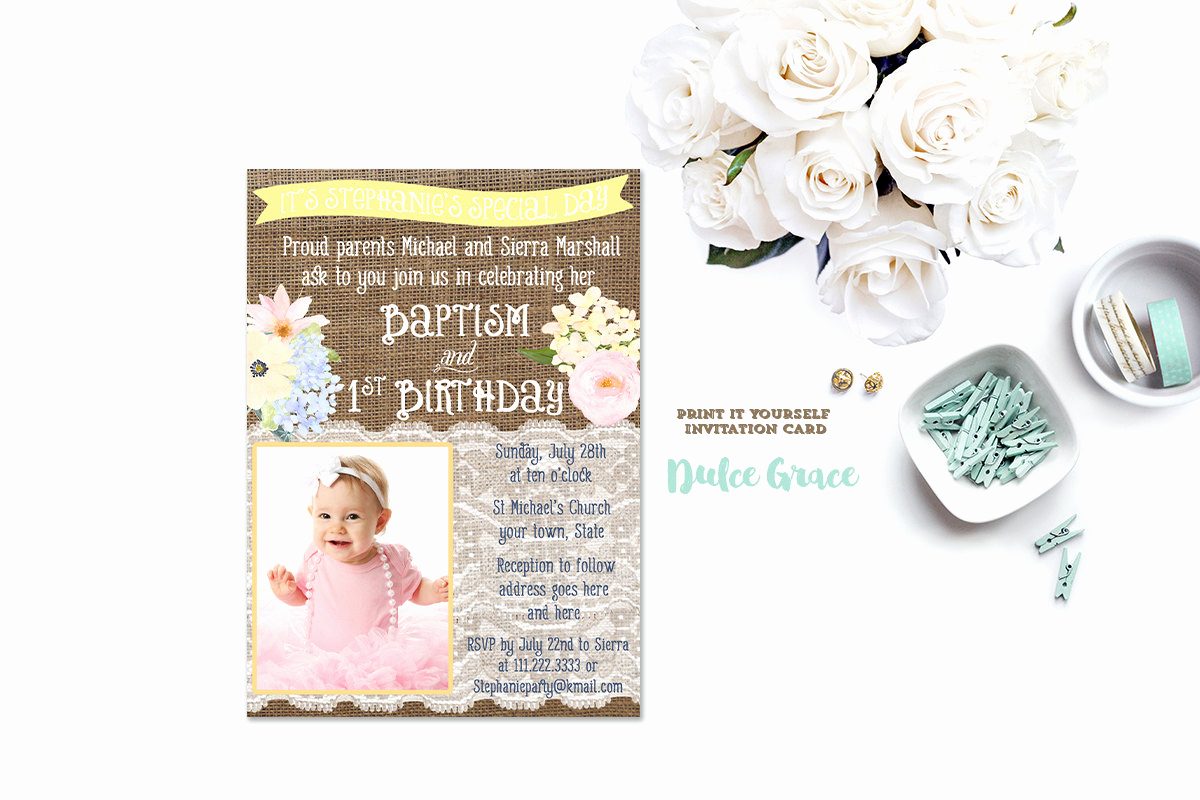Christening and Birthday Invitation Luxury 1st Birthday and Baptism Invitation Diy Printable Baptism