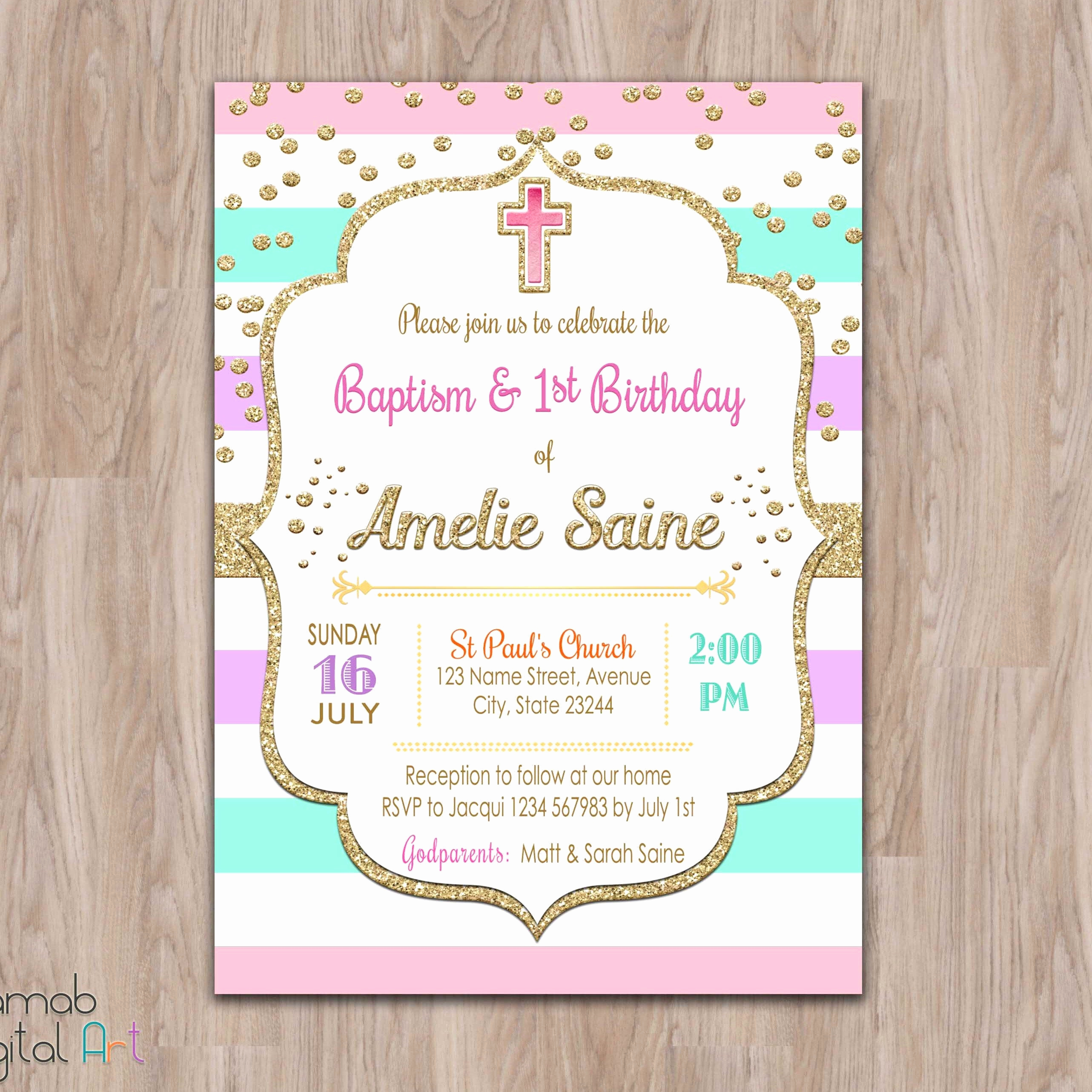 Christening and Birthday Invitation Luxury Baptism and Birthday Invitation 1st Birthday Baptism Invites