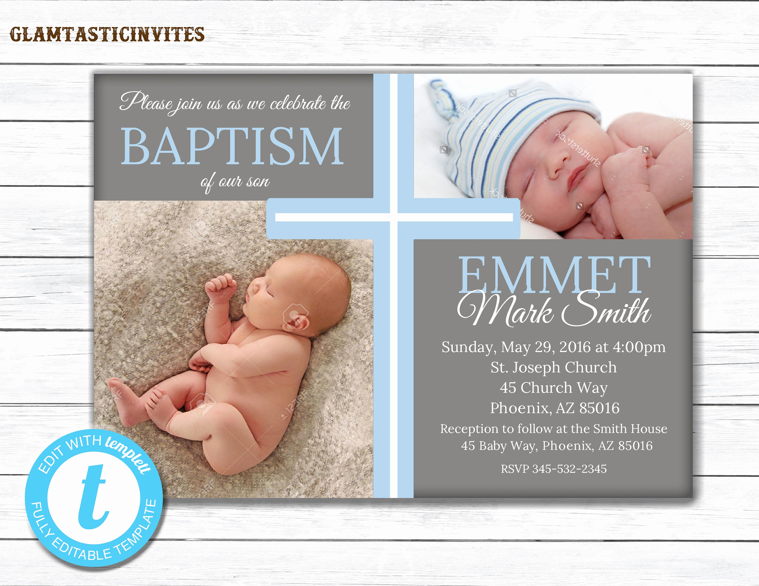 Christening Invitation for Baby Boy Elegant Baptism Invitation Boy Baptism Invitation Printable Boy