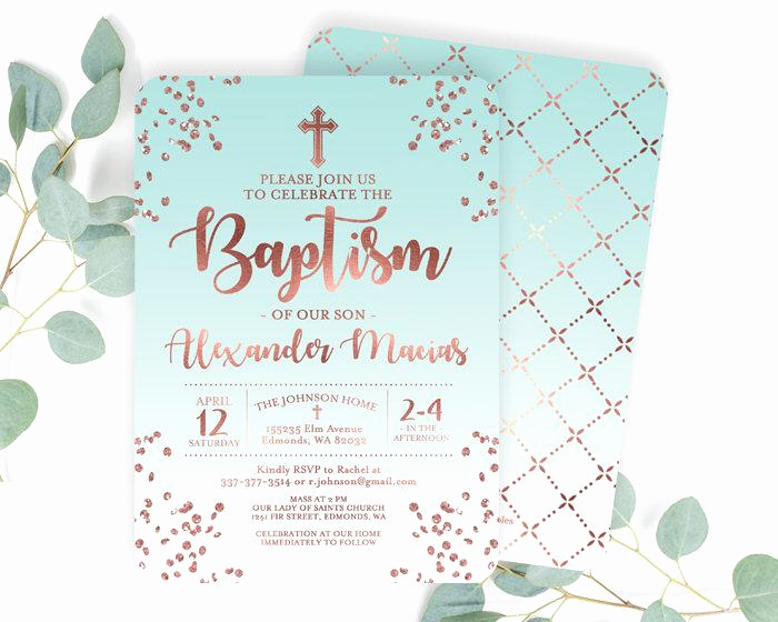 Christening Invitation for Baby Boy Fresh Rose Gold and White Baptism Invitation Baby Boy Baptism