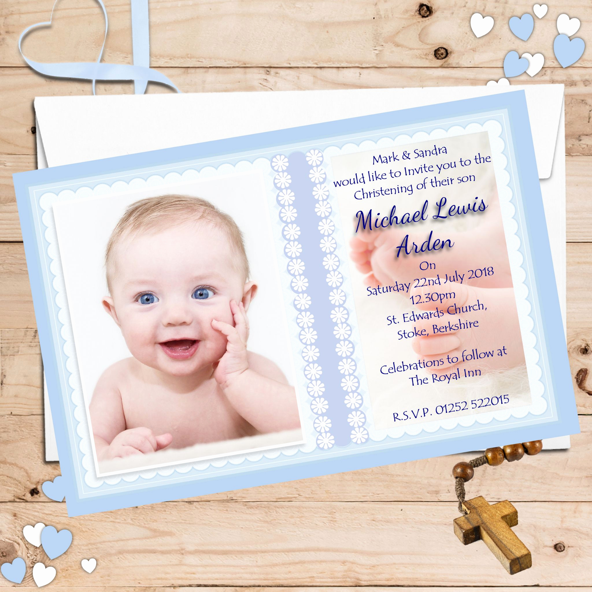 Christening Invitation for Baby Boy Inspirational 10 Personalised Boys Christening Baptism Invitations Photo