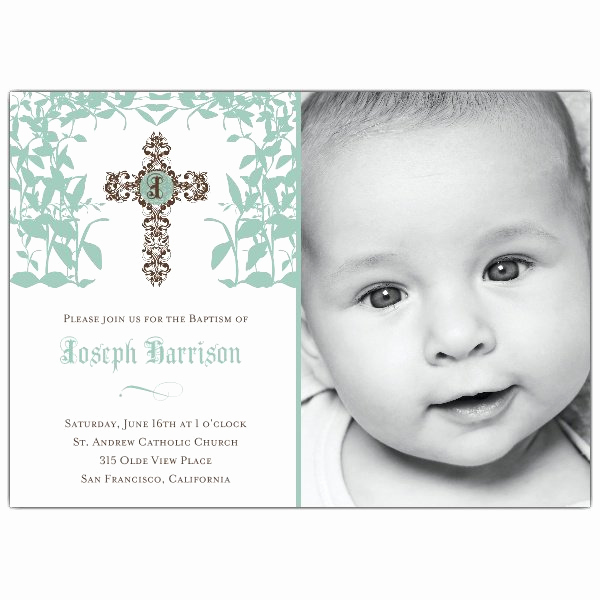 Christening Invitation for Baby Boy Lovely Cross Trellis Boy Baptism Invitations