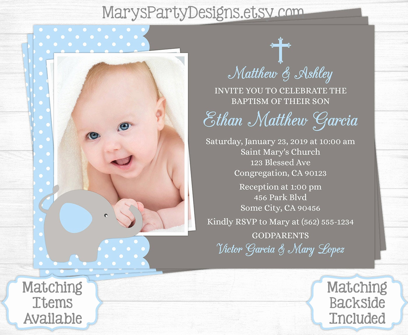 Christening Invitation for Baby Boy Lovely Elephant Baptism Invitation Christening Baptismal Boy First