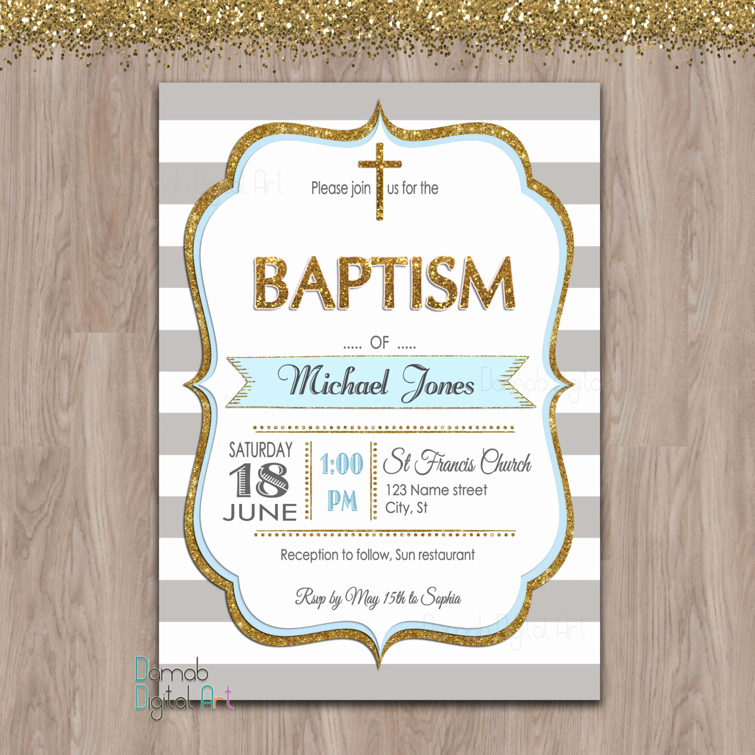 Christening Invitation for Baby Boy Unique Baptism Invitation Boy Baptism Invitation Printable