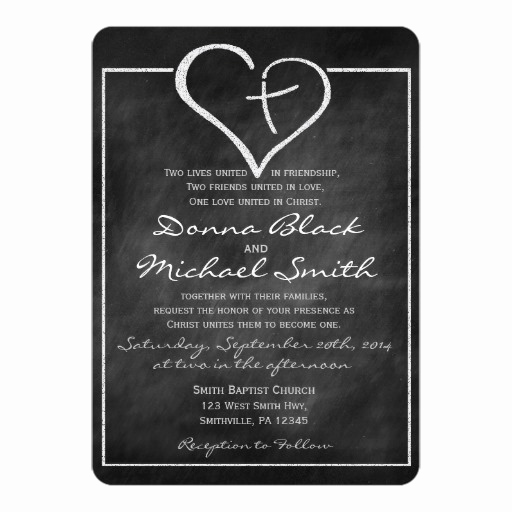 Christian Wedding Invitation Wording Beautiful Crossed Heart Religious Wedding Invitations
