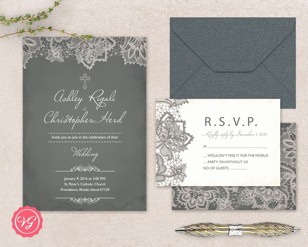 Christian Wedding Invitation Wording Beautiful Diy Christian Wedding Invitation & Rsvp Kit Vintage Grey