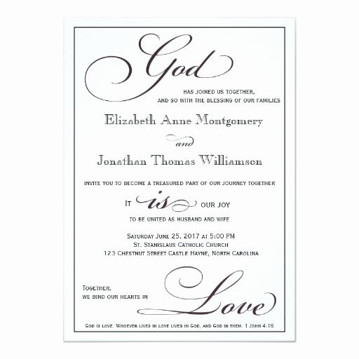 Christian Wedding Invitation Wording Best Of God is Love Christian Script Wedding Invitation