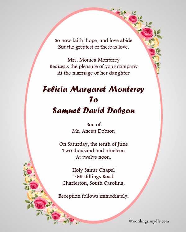Christian Wedding Invitation Wording Lovely Christian Wedding Invitation Wording Samples Wordings