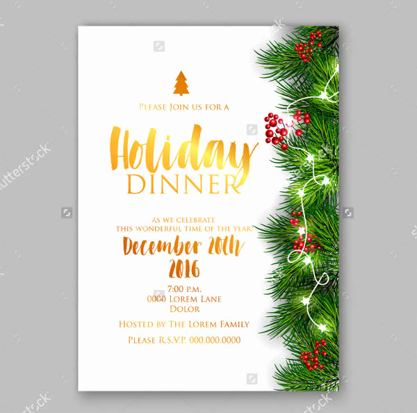 Christmas Dinner Invitation Template Elegant 10 Holiday Dinner Invitation Psd Ai