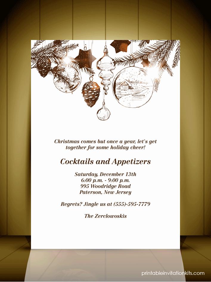 Christmas Dinner Invitation Template Elegant Vintage Style Christmas Party Invitation Card ← Wedding