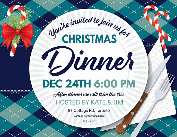 Christmas Dinner Invitation Template Luxury Royalty Free Holiday Table Setting Clip Art Vector
