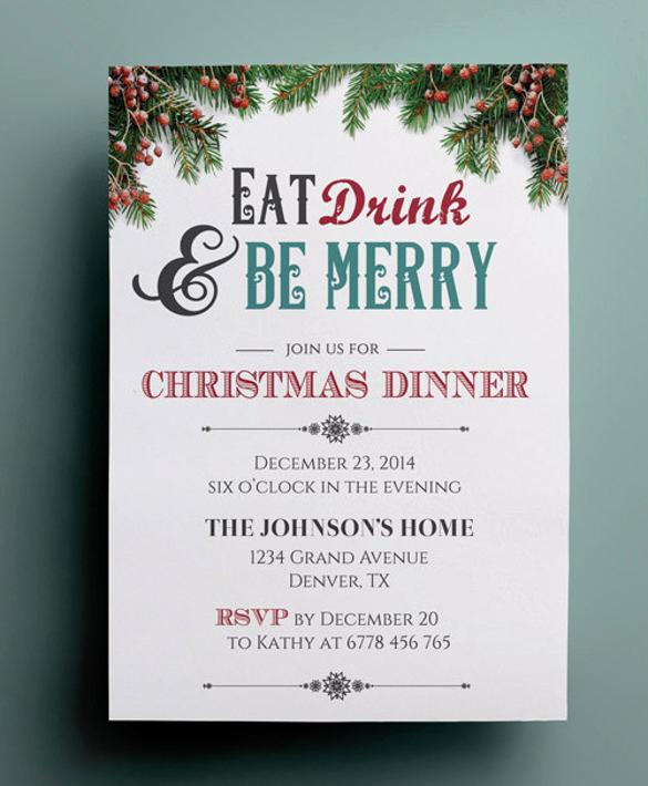 Christmas Dinner Invitation Template New 56 Dinner Invitation Templates Psd Vector Eps Ai