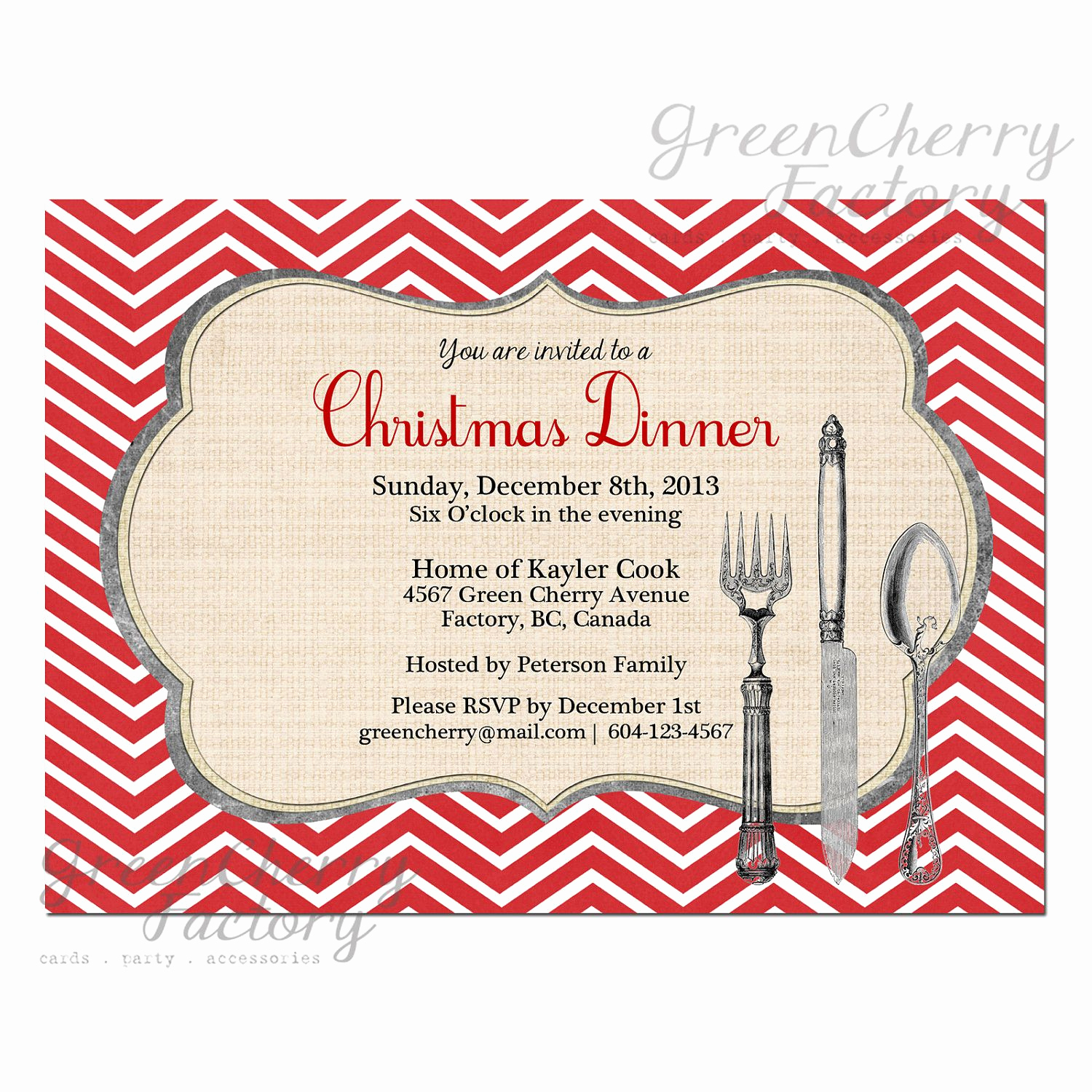 Christmas Dinner Invitation Template New Christmas Party Dinner Invitation Red Chevron Background