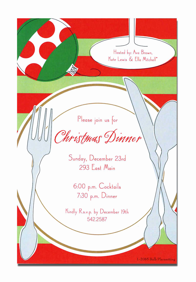 Christmas Dinner Invitation Template Unique Christmas Lunch Invitation Cards