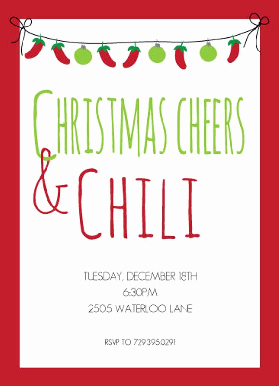 Christmas Eve Party Invitation Awesome Items Similar to Cheers and Chili Party Invitation Mexican