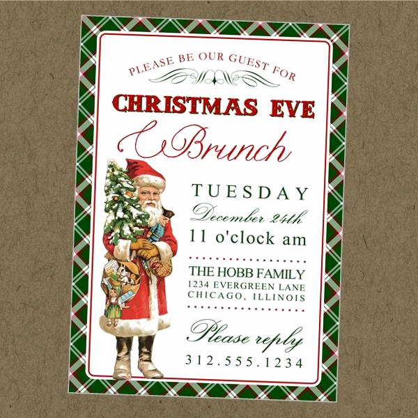 Christmas Eve Party Invitation Best Of Vintage Santa Printable Invitation – Christmas Eve Brunch