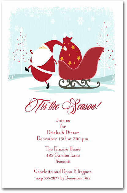 Christmas Eve Party Invitation Elegant Christmas Eve Santa Party Invitations