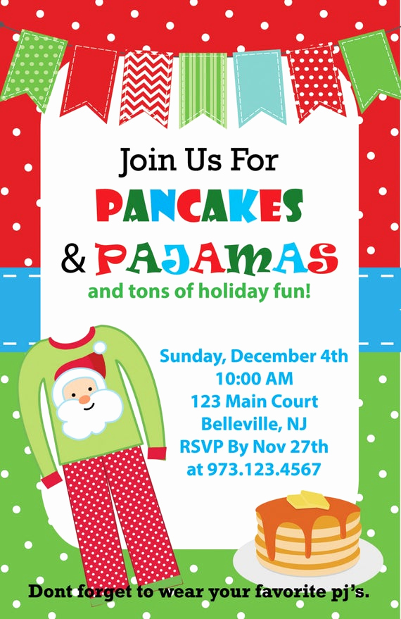 Christmas Eve Party Invitation Inspirational Pancakes and Pajamas Christmas Invitation Printable Jpeg