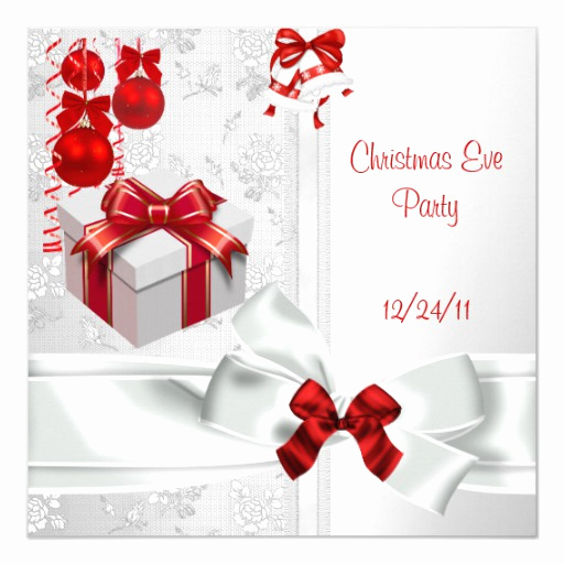 Christmas Eve Party Invitation Unique Christmas Eve Party Elegant Lace White Red Ribbon