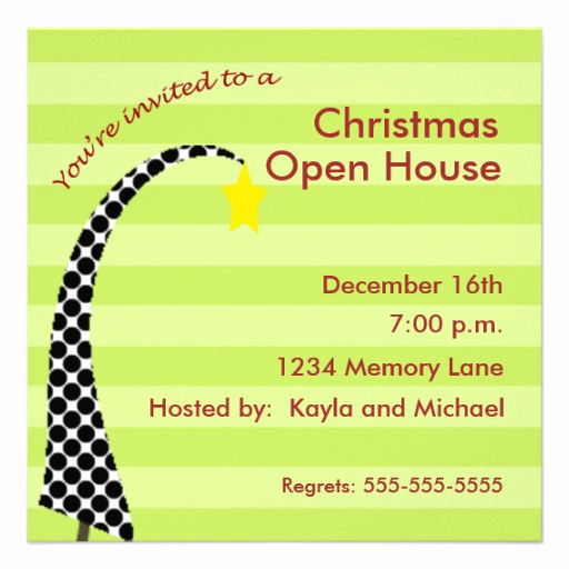 "Christmas Open House Invitation Wording Awesome Personalized Christmas Open House Invitation 5 25"" Square"