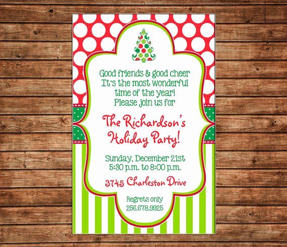 Christmas Open House Invitation Wording Elegant Holiday Christmas Polka Dot Stripe Whimsical Tree Party