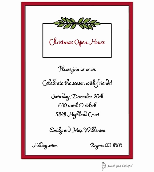Christmas Open House Invitation Wording New Holiday Christmas Open House Party Invitations