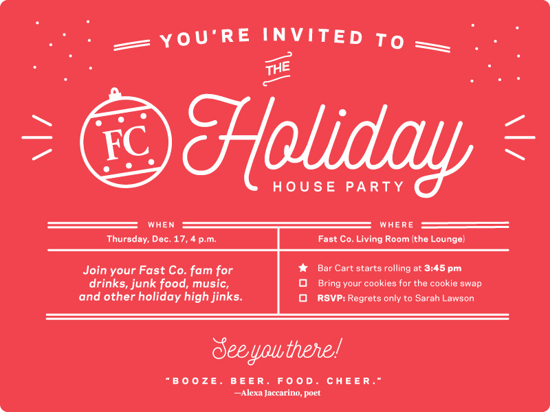 Christmas Party Invitation Idea Awesome Fast Pany Holiday Party Invite by Leslie Xia