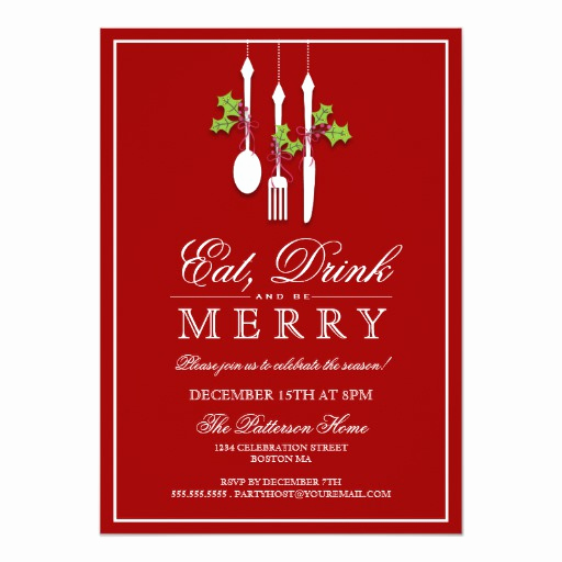 Christmas Party Invitation Idea Best Of Eat Drink & Be Merry Christmas Holiday Party Custom