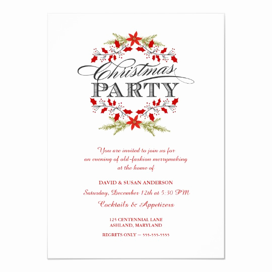 Christmas Party Invitation Idea Best Of Elegant Holly Wreath Christmas Party Invitations