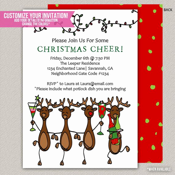 Christmas Party Invitation Ideas Beautiful Reindeer Christmas Invitation Holiday Invitation Holiday