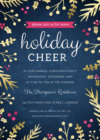 Christmas Party Invitation Template Awesome Gold Sprigs Christmas Party Invitation Templates by Canva