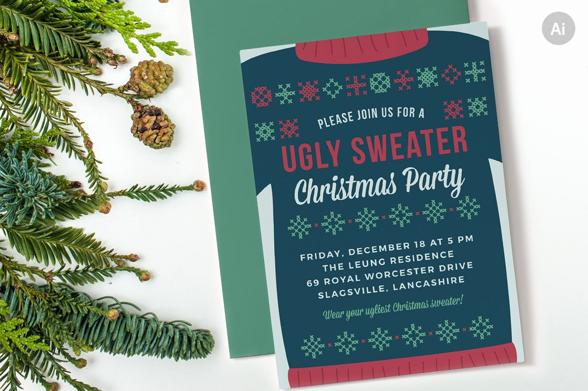 Christmas Party Invitation Template Luxury Ugly Sweater Christmas Party Invite Invitation Templates