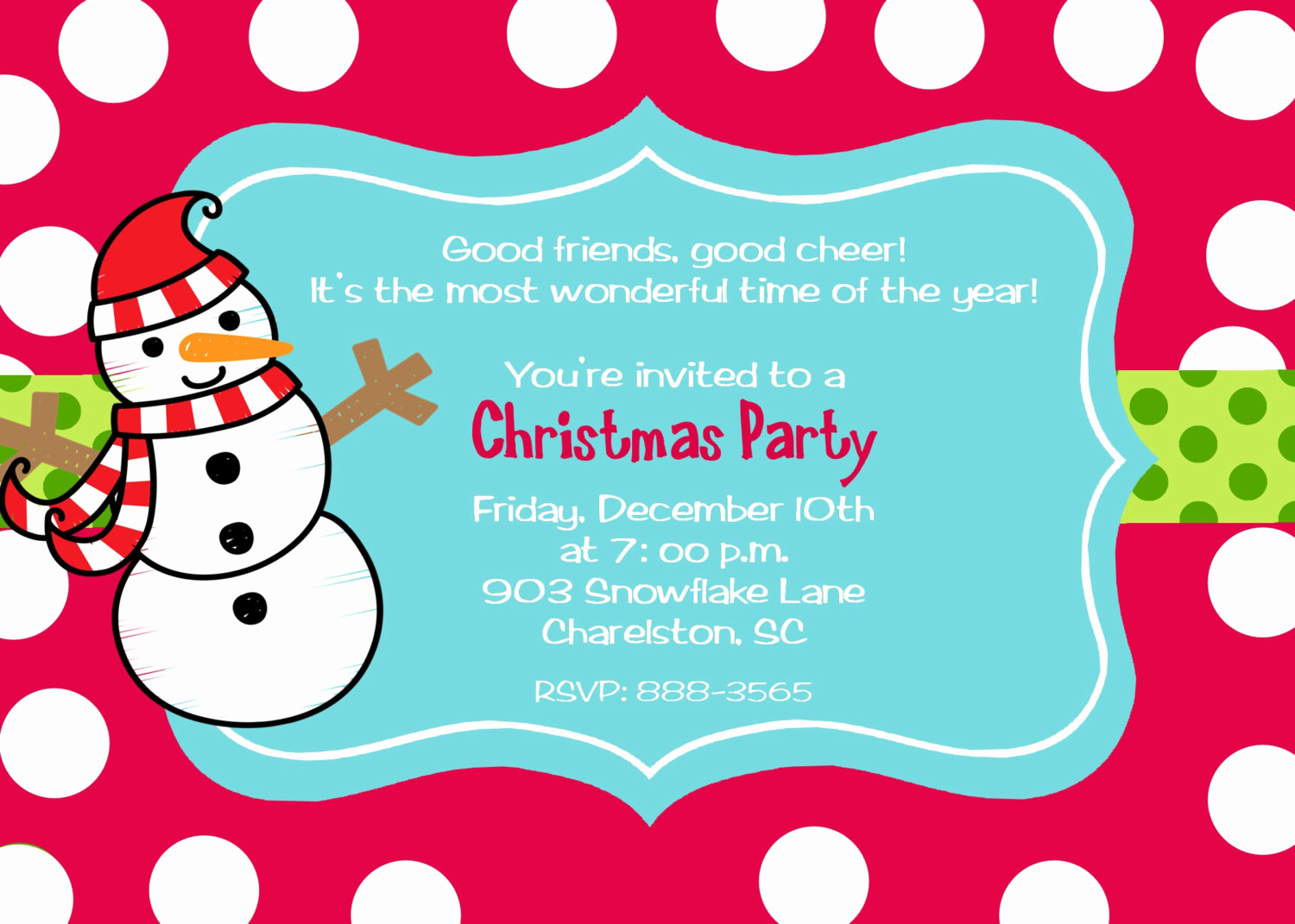 Christmas Party Invitation Wording Awesome Snowman Christmas Party Invitations by Stickerchic On Etsy