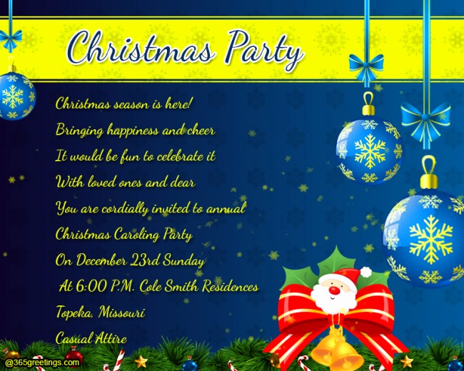 Christmas Party Invitation Wording Luxury Christmas Party Invitation Wording 365greetings