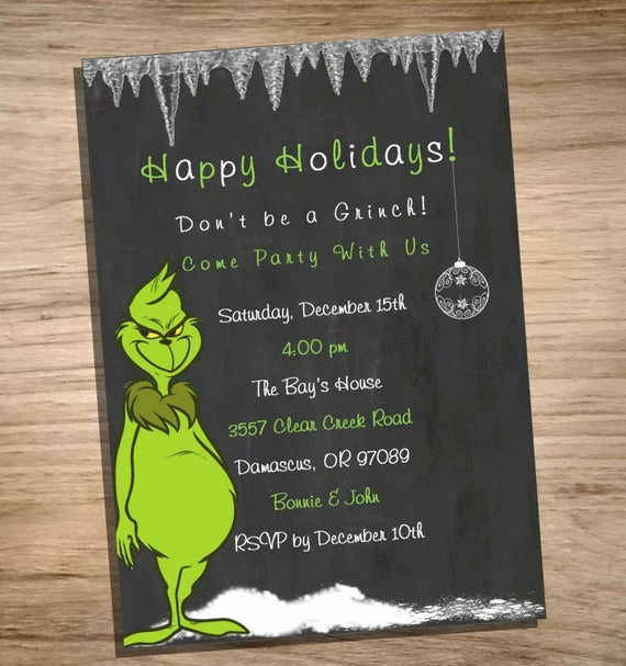 Christmas Party Invitation Wording Luxury Holiday Party Invitation Grinch Printable Jpeg by