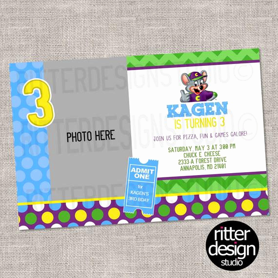 Chuck E Cheese Party Invitation Awesome Chuck E Cheese Birthday Invitation by Ritterdesignstudio