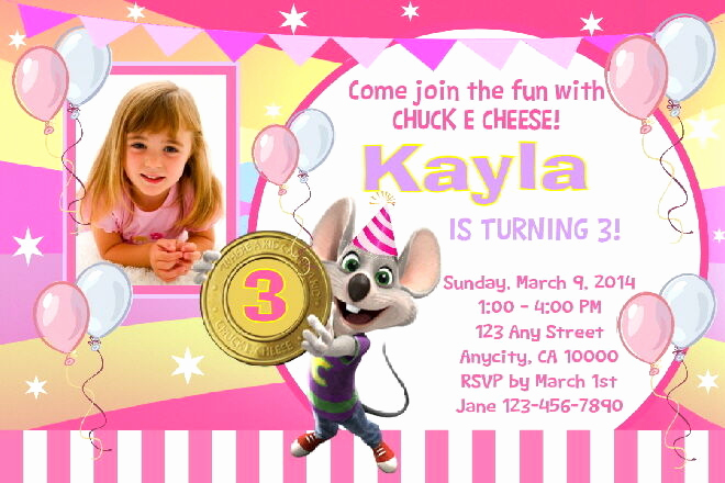 Chuck E Cheese Party Invitation Best Of Chuck E Cheese Custom Printable Birthday Party Invitation