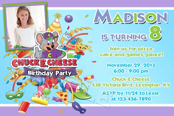 Chuck E Cheese Party Invitation Elegant Chuck E Cheese Custom Birthday Party by