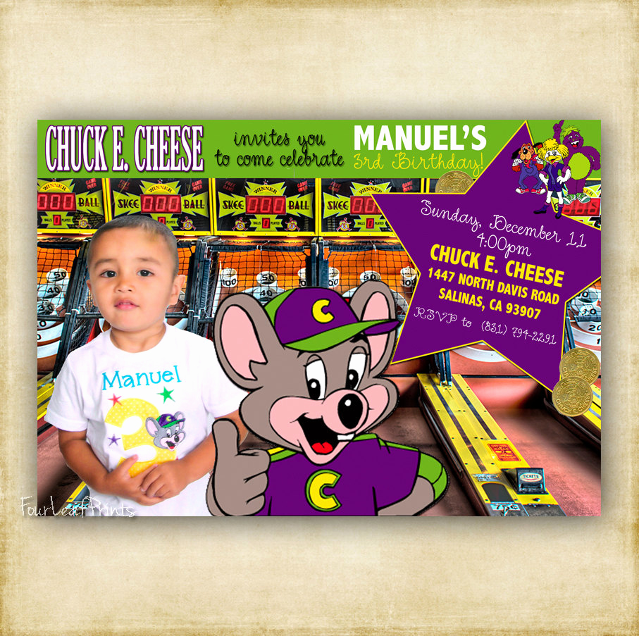 Chuck E Cheese Party Invitation Inspirational Chuck E Cheese Birthday Invitation by Fourleafprints