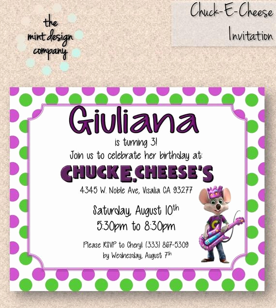 Chuck E Cheese Party Invitation Inspirational Chuck E Cheese Birthday Party Invitation by