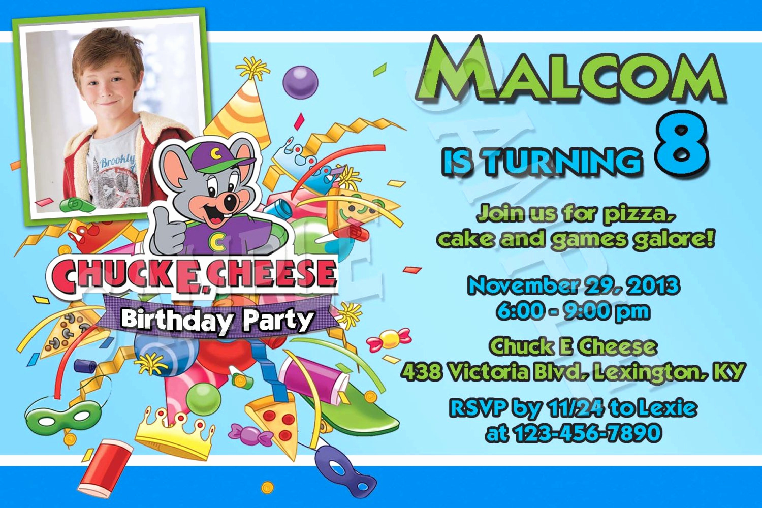 Chuck E Cheese Party Invitation Inspirational Chuck E Cheese Birthday Party Invitations
