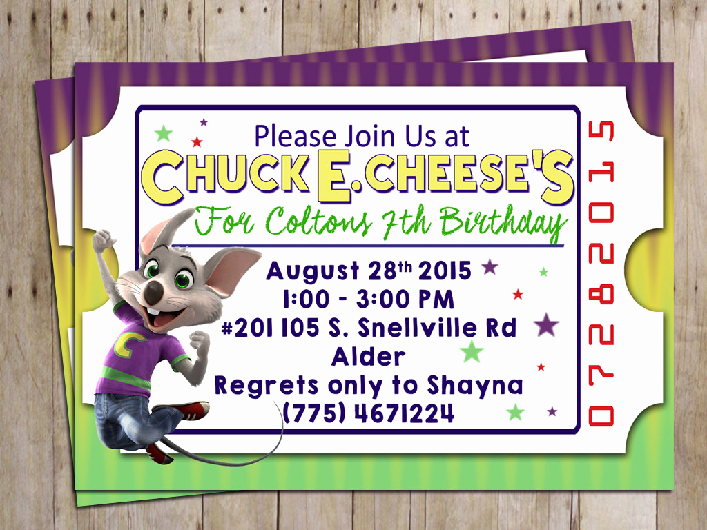 Chuck E Cheese Party Invitation Lovely Chuck E Cheese Birthday Party Invitation for Chuck E Cheese