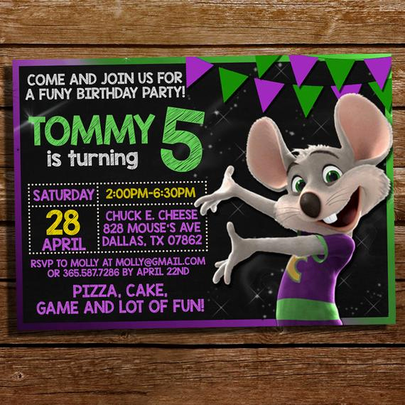 Chuck E Cheese Party Invitation Lovely Chuck E Cheese Invitation Chuck E Cheese by Coralpartydecor