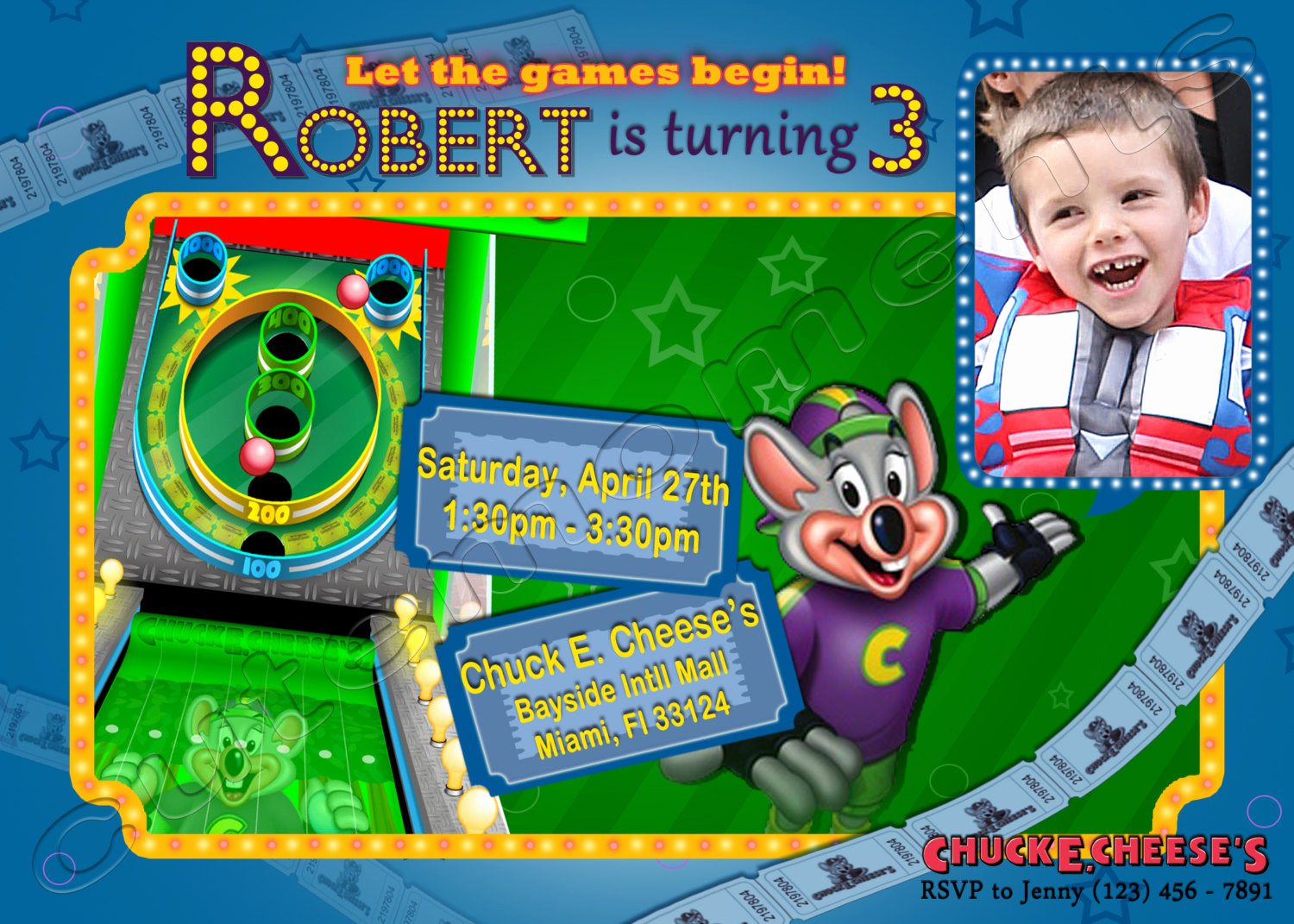 Chuck E Cheese Party Invitation Lovely Chuck E Cheese S Personalized Birthday Party Invitation