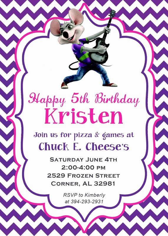 Chuck E Cheese Party Invitation Luxury Chevron Chuck E Cheese Birthday Party Invitation by
