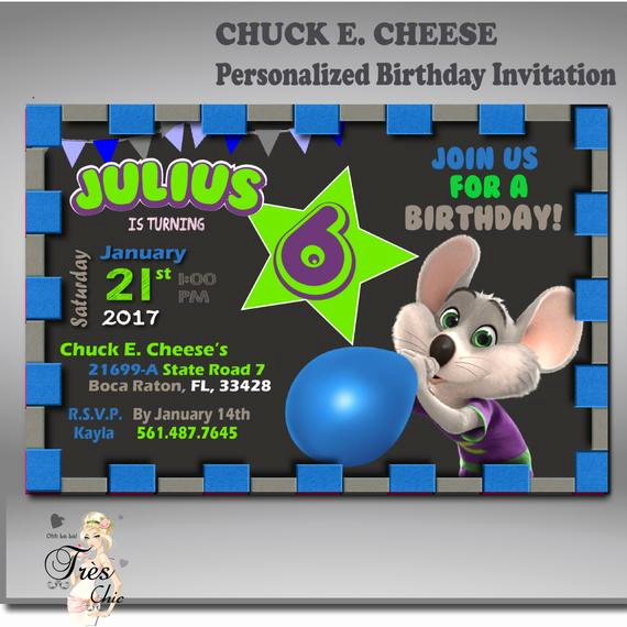Chuck E Cheese Party Invitation Luxury Chuck E Cheese Invitationany Age Birthday Invitation