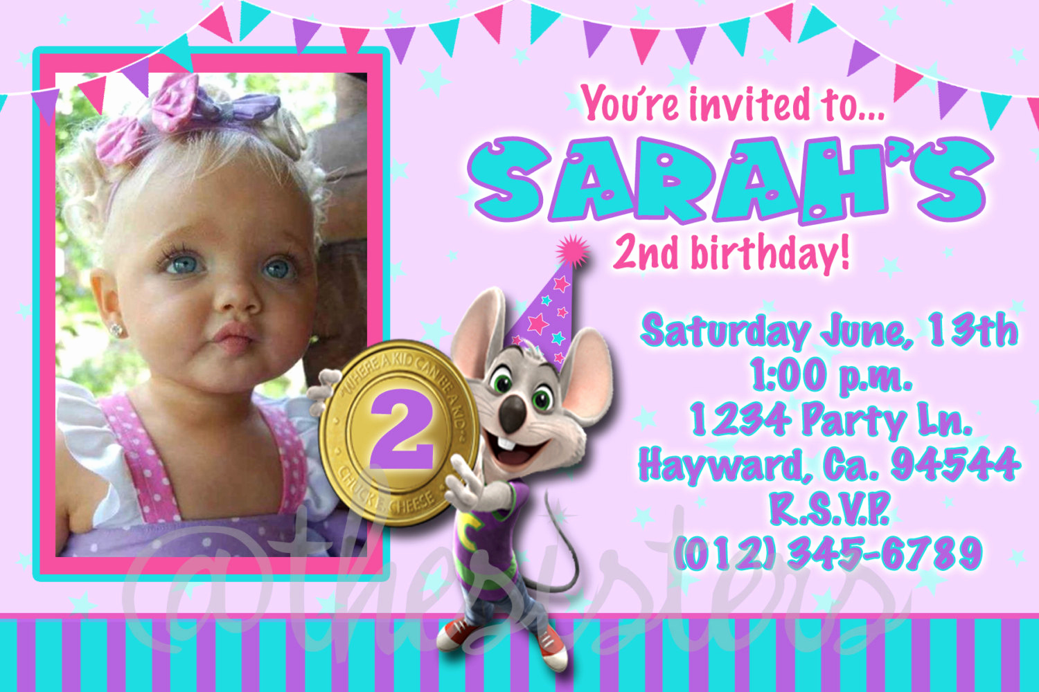 Chuck E Cheese Party Invitation Luxury Girl Chuck E Cheese Invitation