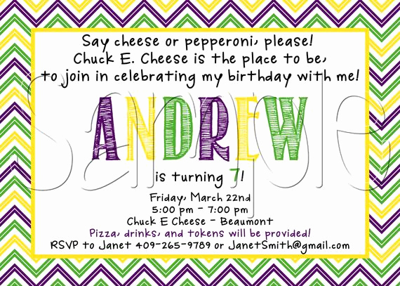 Chuck E Cheese Party Invitation Luxury Items Similar to Custom Printable Chuck E Cheese Inspired